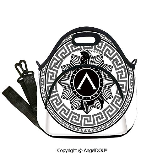 (AngelDOU Toga Party Neoprene Lunch Tote bag With shoulder strap Label with Greek Pattern Spartan Soldier Silhouette Retro Military Icon Outdoor Travel Picnic Beach)