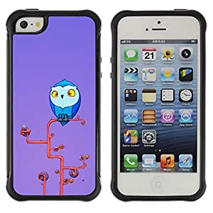 Suave TPU Caso Carcasa de Caucho Funda para Apple Iphone 5 / 5S / Owl Blue Big Eyes Yellow Art Tree Branch / STRONG