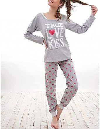 ADMAS - Pijama Mujer Invierno 100% ALGODÓN Tallas Love&Peace ...