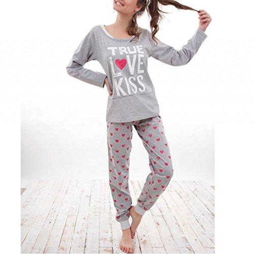 ADMAS - Pijama Mujer Invierno 100% ALGODÓN Tallas Love&Peace - Gris, ...