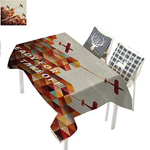 WilliamsDecor Vintage Airplane Outdoor Tablecloth Ready for Take Off Retro Style Geometric Pattern Triangles Clouds PlanesMulticolor Rectangle Tablecloth W60 xL102 inch