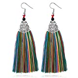 ManxiVoo Women Vintage Retro Style Tassels Fringe Dangle Drop Earring Bohemian Ethnic Long Tassel Earrings (Multicolor)