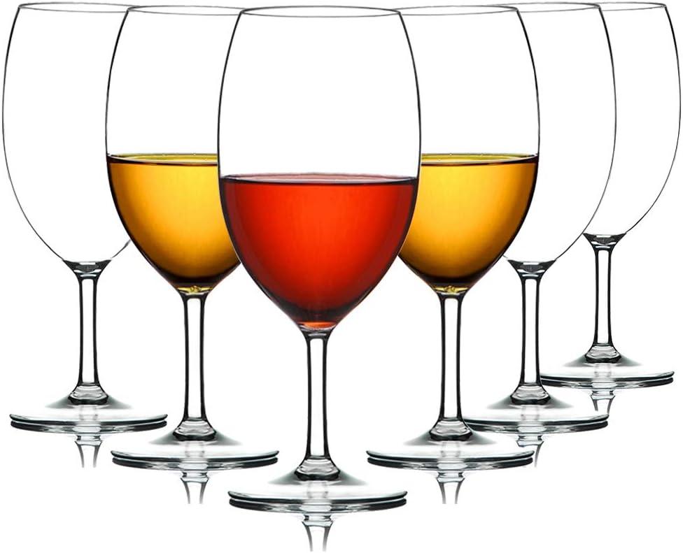 MICHLEY Unbreakable Wine Glasses, 100% Tritan Plastic Shatterproof Large Wine Glasses 20 oz, Set of 6