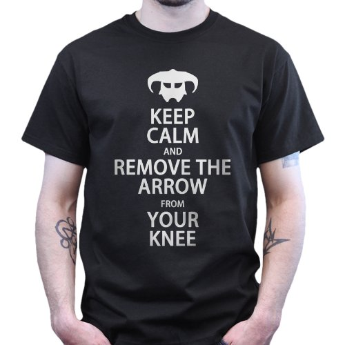 Keep Calm Remove Arrow From Your Knee T-shirt Black XL