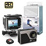Yikoo 2.0'' IPS 4K Ultra HD Sport Action Camera with WIFI, 30M Waterproof DV Camcorder, 170° Super Wide Angle Lens Mounting Accessories Kit.