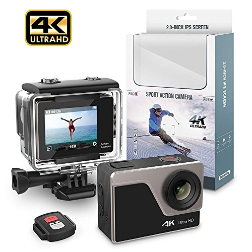Yikoo AT30RT 2.0'' IPS 4K Ultra HD WIFI 30M Waterproof Sport Action Camera 32G 4K 30/fps 1080P 60/fps 720P 120/fps MOV Sony CMOS 16MP Photo and 170° Super Wide Angle Lens Mounting Accessories Kit Yikoo