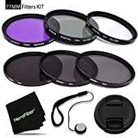 77mm Filters KIT for 77mm Lenses and Cameras includes: 77mm Filters Set (UV, FLD, CPL) + 77mm ND Filter Set (ND2 ND4 ND8) + 77mm Lens Cap + Lens Cap Holder + HeroFiber cleaning cloth + MORE