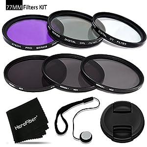 77mm Filters KIT for 77mm Lenses and Cameras includes: 77mm Filters Set (UV, FLD, CPL) + 77mm ND Filter Set (ND2 ND4 ND8) + 77mm Lens Cap + Lens Cap Holder + HeroFiber cleaning cloth + MORE