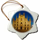 3dRose Danita Delimont - Italy - Vittorio Emanuele statue, Cathedral in Piazza del Duomo, Milan, Italy - 3 inch Snowflake Porcelain Ornament (orn_227443_1)