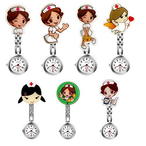 Women Nurse Watch Cute Cartoon Clip-on Lapel Hanging-Pendant Doctor Clinic Staff Tunic Stethoscope Badge Quartz Fob Pocket Watch - 7 - Watch Lapel Chain