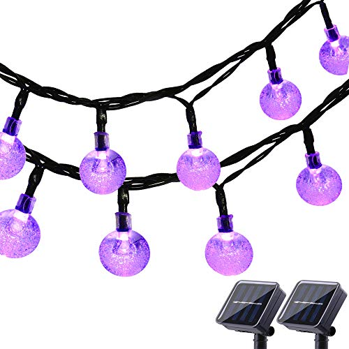 Lyhope Solar Outdoor String Lights, 20 ft 30 LED Crystal Ball Waterproof Solar Powered Globe Lights for Garden Patio Holiday Party Decorations (Purple,2 Pack)