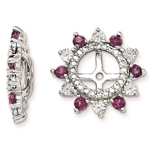 925 Sterling Silver Rhodium-plated Polished & Textured Rhodalite Garnet Earring - Rhodalite Earring Garnet