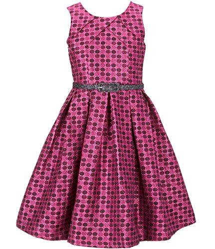 Bonnie jean Big Girls Plus Size Sleeveless Dot Metallic Brocade Holiday Party Dress, (Brocade Party Dress)