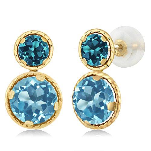 4.20 Ct Round Swiss Blue Topaz London Blue Topaz 14K Yellow Gold Earrings by Gem Stone King