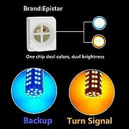 Partsam 1SET/2PCS 1157 60-3528-SMD Switchback Blue/Amber LED Dual Chip 1034 2057A 1157A Front Turn Signal Light Bulbs + Load Resistors for 2009-2014 SUBARU Impreza/HYUNDAI Genesis