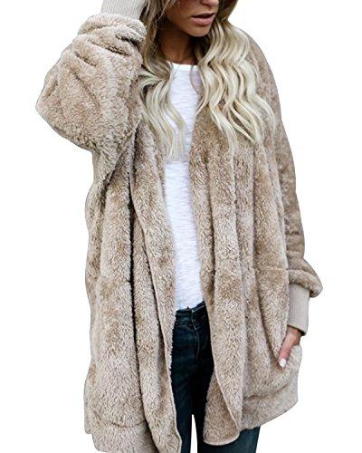 Flying Rabbit Women's Oversized Open Front Hooded Draped Pockets Cardigan Coat Faux Fur Sherpa (Faux Fur Cardigan)