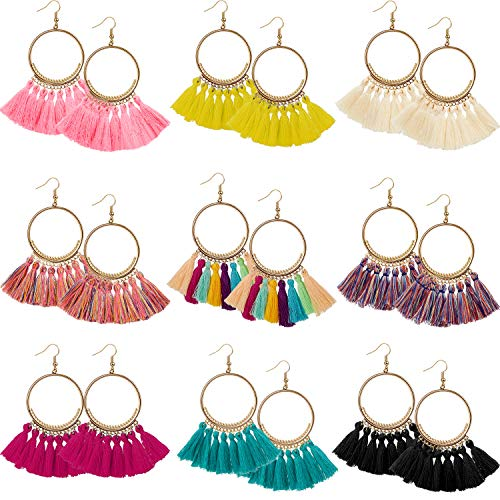 9 Pairs Tassel Hoop Earrings Bohemia Fan Shape Drop Earrings Dangle Hook Eardrop for Women Girls Party Bohemia Dress Accessory (Multicolor D)