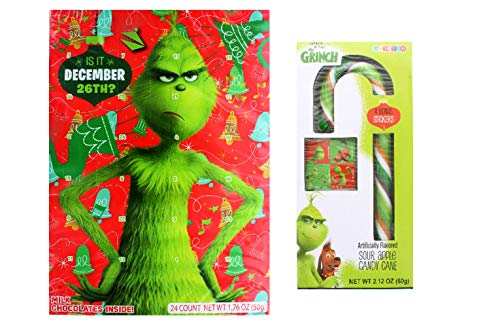 The Grinch Advent Calendar 2018 | 24 Milk Chocolate Candies for Kids 1.76 oz | Dr Seuss Countdown to Christmas Holiday | Red and Green Sour Apple Candy Cane Individually Wrapped with Stickers | Bundle