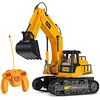 Remote Control Excavator Toy Truck with Flashing Lights and SFX - Includes Transmitter and Battery Charger| Battery Operated RC Toy Construction Vehicle for Kids with Cool Sound Effects | Lighting