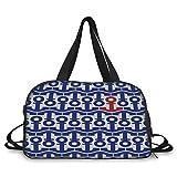 Travel handbag,Nautical,Stylized Marine Anchors Motif Ship Journey Sea Ocean Adventure Artsy Graphic,Navy Blue Red ,Personalized