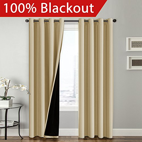 Flamingo P Full Blackout Wheat Curtains Faux Silk Satin with Black Liner Thermal Insulated Window Treatment Panels, Grommet Top (52 x 96 Inch, Set of 2) - Top Curtain Panel