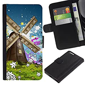 KingStore / Leather Etui en cuir / Apple Iphone 6 PLUS 5.5 / Naturaleza Pintura Art Summer Flowers