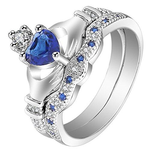 FENDINA Women 18K White Gold Plated Engagement Wedding Ring Blue Sapphire Heart Cut CZ Stone Paved Crown Irish Claddagh Rings Ring Set of 2
