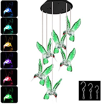 Epartswide Wind Chimes,Solar Hummingbird Wind Chime,Color Changing Solar Mobile Wind Chime with Six Hummingbird and 3 s Hook for Home/Garden/Backyard/Decoration Mom Gifts