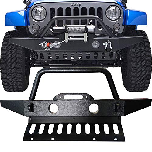 (TTX LIGHTING Textured Black Off Road Front Bumper W/Skid Plate & Winch Plate & 2 D-Rings & Fog Light Hole for 2007-2018 Jeep Wrangler JK)