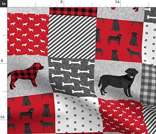 Labrador Retriever Fabric - Black Lab Pet Quilt A Breed Pattern Wholecloth Dogs Cheater Petquilta Baby Print on Fabric by the Yard - Basketweave Cotton Canvas for Upholstery Home Decor Bottomweight
