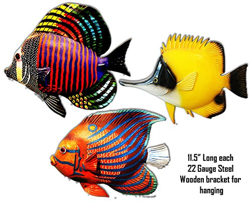 - Tropical Set Of 3 Fishes Laser Cut Out Metal Signs 11.5