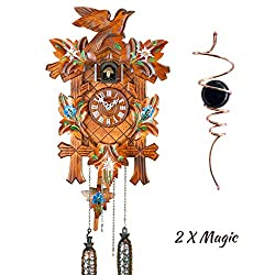 Qwirly 2 Item Bundle: HERMLE ADELHEIDE Quartz Black Forest Cuckoo Clock #55000 & Optical Illusion Spinner