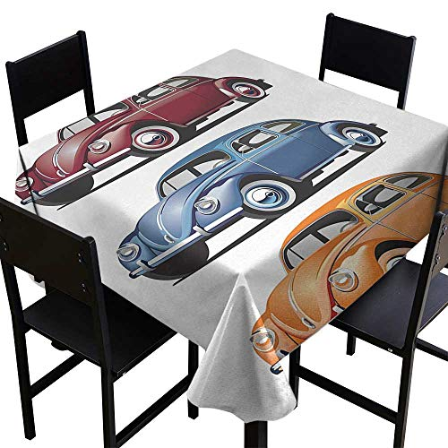 Square Tablecloth Black Retro,Classic Hippie Vosvos in Past Times 60s Life European Concept,Red Blue Orange,W36 x L36 for Kitchen