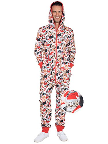 Meowy Catmus Ugly Christmas Sweater Party Jumpsuit - Adult Christmas Cat Onesie: Large -