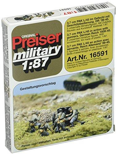 Preiser 16591 Former German Army WWII Artillery PAK L/45 3.7cm Anti Tank Gun in Action w/Gun Crew HO Scale Military Model - Artillery Wwii