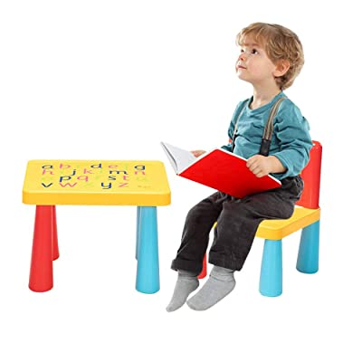 SSLine 2-Piece Kids Plastic Table and Chair Set Colorful Toddler Activity Table Chair with Printed Letters Children Cute Table Set for Playing Gaming Room: Kitchen & Dining