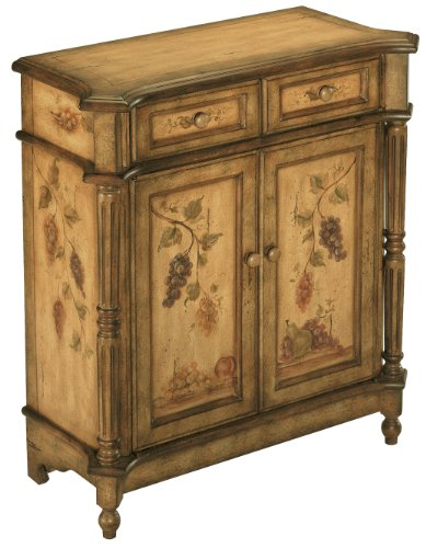 Hand Painted Chest Drawers - Stein World 70285 One Hand Painted Accent Cabinet in Antique Brown with Two Drawers and Two Doors, 30.25 by 13.75 by 32.75-Inch