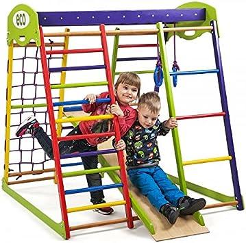 SportBaby Centro de Actividades con tobogán ˝Unga, Red de Escalada, Anillos, Escalera Sueco, Campo de Juego Infantil: Amazon.es: Juguetes y juegos