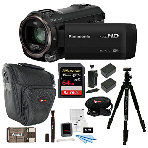 (Panasonic HC-V770 HD Camcorder with 64GB SD Card and 69-Inch Tripod Bundle)