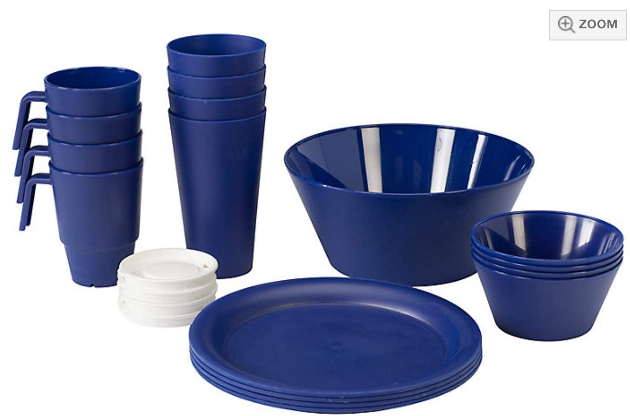 CreativeWare CH621NY First Dorm/Appartment 21 Piece Dish Set, Navy, 1,