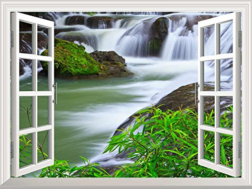 Removable Wall Sticker Wall Mural Waterfall in National Park of Thailand Creative Window View Wall Decor