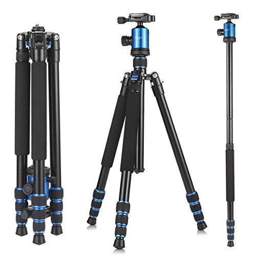 Camera Tripod, KetDirect Aluminium Compact Portable Lightweight Professional Camera Tripods For Cameras monopod With 360 Degree Ball Head and Carry Case For Canon Nikon Sony Olympus DSLR Cameras