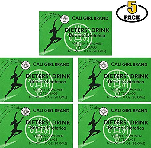 Cali Girl Brand Dieters Tea Drink for Weight Loss. Diet Slimming/Slim Detox Tea. Get a Flat Tummy, Skinny & Fit. Senna Leaf Laxative - Packed by BASED BOX in California (Pack of 5, 60 Bags Total)
