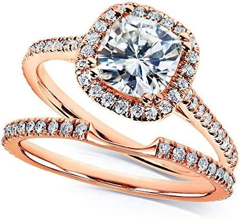 Kobelli Moissanite and Lab Grown Diamond Halo Bridal Rings Set 1 1/2 CTW in 14k Rose Gold (HI/VS, DEF/VS)