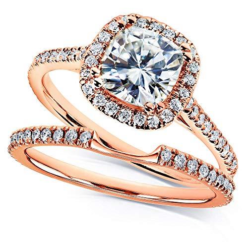 Kobelli Moissanite and Lab Grown Diamond Halo Bridal Rings Set 1 1/2 CTW in 14k Rose Gold (HI/VS, DEF/VS), 9.5