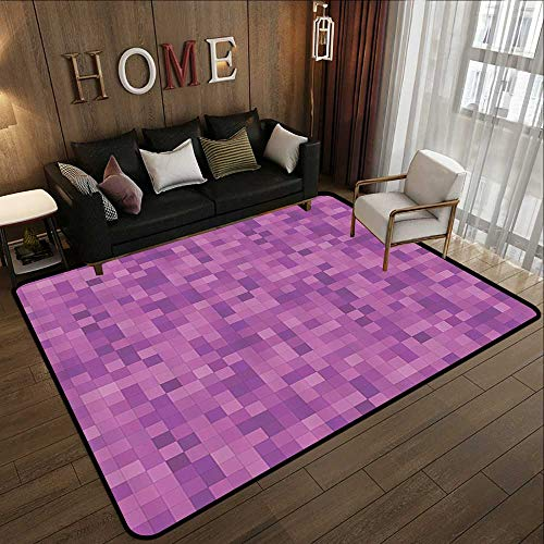 Outdoor Camping Rugs,Magenta Decor,Fractal Square Mosaic Brick Block Polygonal Pixel Contrast Contemporary,Violet Lilac 63