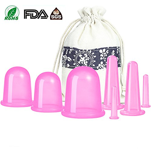 500-miles Anti Cellulite Cupping Therapy Set for Family 7Pcs Silicone Vacuum Massage Cups - Chinese Cupping Kit for Body and Facial Massager for Adults Home Use