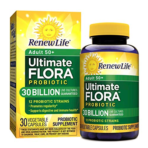 Renew Life Adult 50+ Probiotic - Ultimate Flora Probiotic, Shelf Stable Probiotic Supplement - 30 Billion - 30 Vegetables Capsules