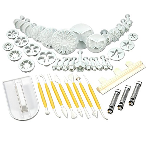(47 pcs cookie cutter ejector punch + Modelling + smoother + border decoration fondant marzipan Gateau by TARGARIAN)