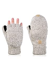 Vbiger Mens Womens Winter Gloves Warm Wool Half-finger Mittens Gloves